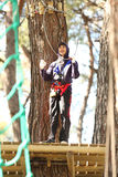 Man in adventure park Stock Photo