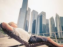 Man adventure to Singapore Royalty Free Stock Images