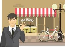 Man advertises bakery Stock Photos