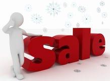 Man advertises nice New Year sales Royalty Free Stock Photo