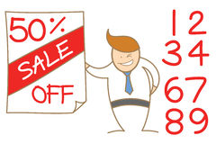 Man advertising sale price Stock Photography