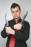 Man advertizes knifes Royalty Free Stock Photos