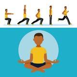 Man and aerobics. Cartoons vector illustration graphic design royalty free illustration