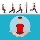 Man and aerobics. Cartoons vector illustration graphic design stock illustration