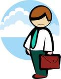 Man affärsmannen i ett band, en vit skjorta, med en portfölj går att arbeta på bakgrunden av molnig himmel Royaltyfri Fotografi