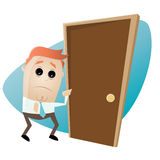 Man is afraid of knocking on the door Stock Photo
