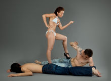 Man afraid woman violence - sexual games Royalty Free Stock Photo