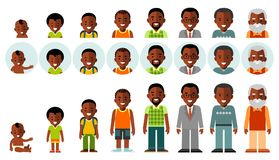 Set of african american ethnic people generations avatars at different ages. Man african american ethnic aging icons - baby, child, teenager, young, adult, old Stock Photos