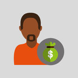 Man african with bag money icon Stock Photo
