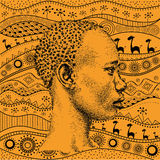 Man on African hand-drawn ethno pattern, tribal background. Beautiful black boy. Profile view. Vector illustration Royalty Free Stock Image