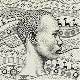 Man on African hand-drawn ethno pattern, tribal background. Beautiful black boy. Profile view. Vector illustration Stock Image