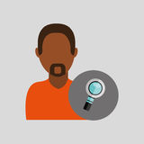 Man african look search icon design graphic isolated. Illustration Royalty Free Stock Photos