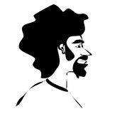 Man with afro. Sketch of man with afro and goatee Royalty Free Stock Image