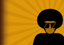 Man in afro. An illustration of a man in huge sunglasses and an afro hairdo. Background is orange stock illustration