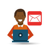 Man afro-american using laptop email media icon. Vector illustration eps 10 Royalty Free Stock Photo