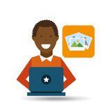 Man afro-american using laptop picture icon Stock Image
