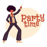 Man in afro wig and 1970s style clothes dancing disco Royalty Free Stock Images
