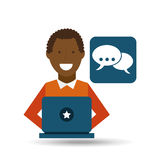 Man afroamerican using laptop bubble speech media icon. Vector illustration eps 10 Stock Photography