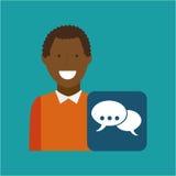 Man afroamerican using laptop bubble speech media icon. Vector illustration eps 10 Stock Image