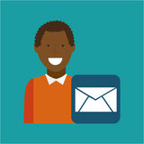 Man afroamerican using laptop email media icon. Vector illustration eps 10 Royalty Free Stock Images