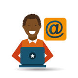 Man afroamerican using laptop mail media icon Stock Images