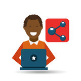 Man afroamerican using laptop share media icon. Vector illustration eps 10 Stock Photography