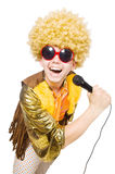 Man with afrocut and mic isolated. On white Stock Image