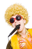 Man with afrocut and mic. Isolated on white Royalty Free Stock Image