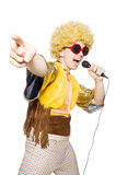 Man with afrocut. And mic isolated on white Royalty Free Stock Photography