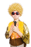 Man with afrocut and mic. Isolated on white Royalty Free Stock Photo