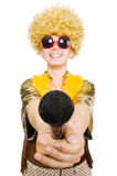 Man with afrocut. And mic isolated on white Royalty Free Stock Image