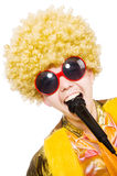 Man with afrocut and mic isolated. On white Royalty Free Stock Images