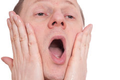 Man with aftershave have pain Royalty Free Stock Image