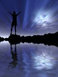Man against night sky Stock Images