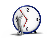Man against Time. Person trying to hold back arm of clock Royalty Free Stock Photo