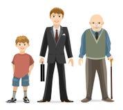 Man age progress stock illustration