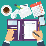 Man agenda concept. Businessman writes a daily routine. Schedule, agenda and planning in management and administration. Flat vector cartoon illustration. Objects vector illustration