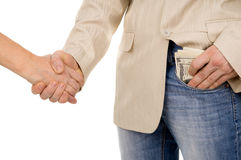 The man agreed about the bribe and puts it in his pocket Royalty Free Stock Images