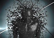 man AI för svart 3D mot grå bakgrund Royaltyfri Fotografi