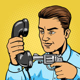 Man aim gun to handset pop art vector illustration. Man aim gun to phone handset pop art vector illustration. Human character illustration. Comic book style Royalty Free Stock Images