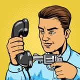 Man aim gun to handset pop art vector illustration Royalty Free Stock Images