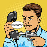 Man aim gun to handset pop art vector illustration Royalty Free Stock Photos
