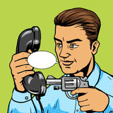 Man aim gun to handset pop art vector illustration Royalty Free Stock Image