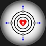 Man aiming girl heart target concept. Vector Illustration EPS10 Stock Photo