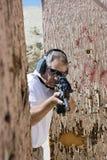 Man Aiming Machine Gun At Firing Range Royalty Free Stock Photo