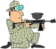 Man aiming a paintball gun. This illustration depicts a man in camouflage aiming a paintball gun Royalty Free Stock Photos