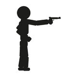 A man is aiming from a pistol sign illustration. Vector. Black icon on white background. A man is aiming from a pistol sign illustration. Vector. Black icon on Stock Image