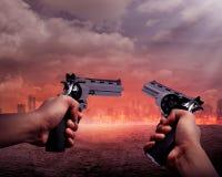 Man Aiming Two Gun To Burn City Royalty Free Stock Photos