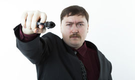 Man aiming at you Royalty Free Stock Image