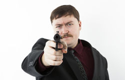 Man aiming at you Stock Photo
